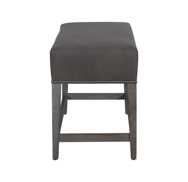 Lorts 3527 Backless Counter Height Bench finished in Slate, Wire Brush Finish and upholstered in Lorts Stormy Gray Leather with NH2 Brushed Nickel nailhead trim