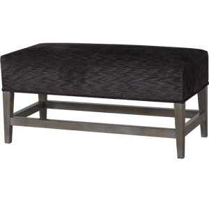 Lorts 3528 Backless Dining Height Bench finished in Greystone and upholstered in COM with double welting