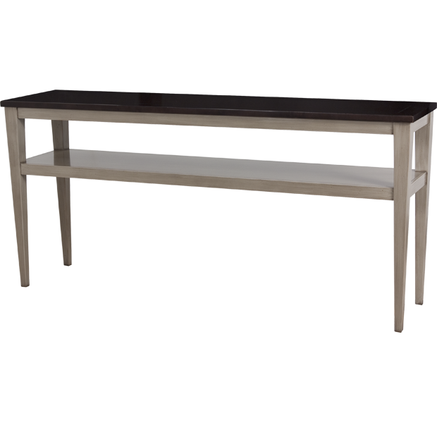 Lorts 3688 Tapered Leg Console Table finished in Walnut and Oyster