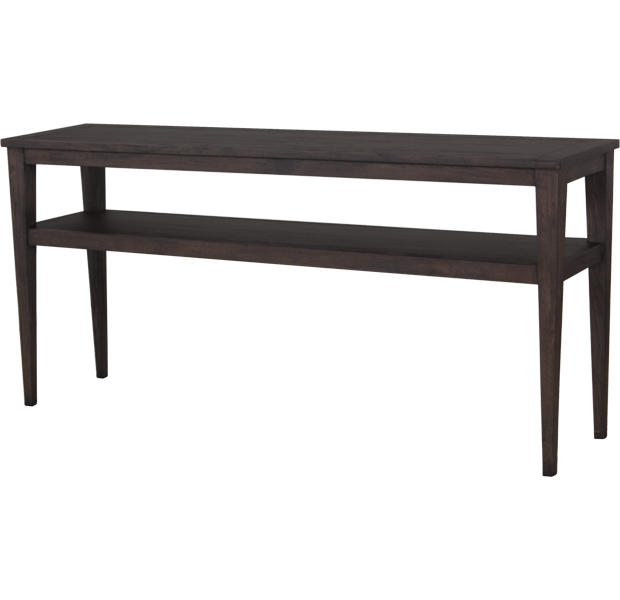 Lorts 3688 Tapered Leg Console Table finished in Bark, Wire Brush Finish