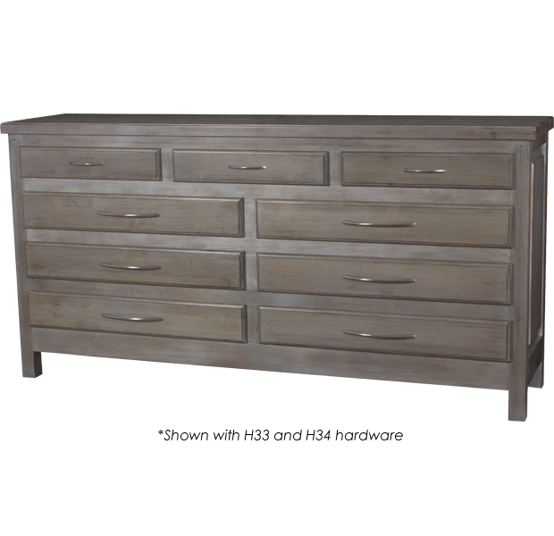 Lorts 4193 Nine Drawer Dresser finished in Greystone with H33 and H34 hardware