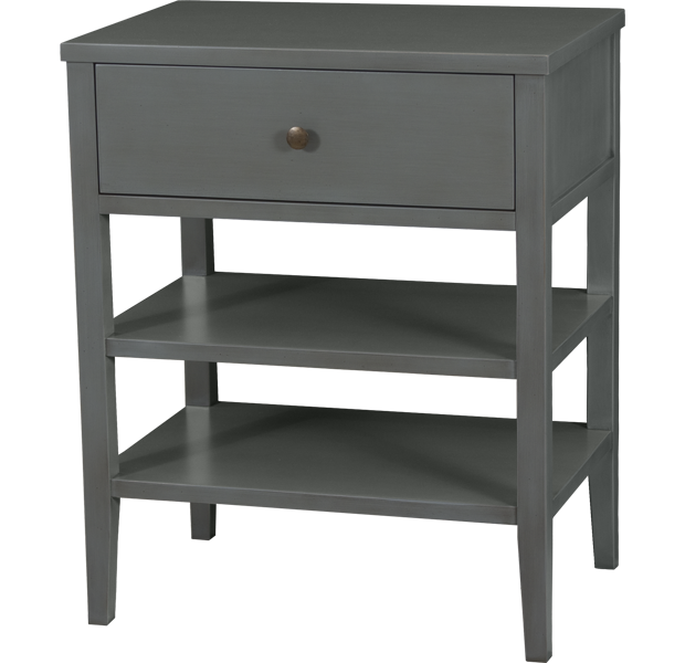 Lorts 4281 Single Drawer, Two Shelves Nightstand finished in French Grey with H11 Antique Brass tone hardware