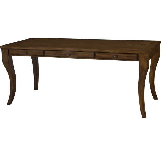 Lorts Custom 7372 Styled French Leg Desk with three drawers measuring W72 D32 H30 finished in Pecan with H15 hardware