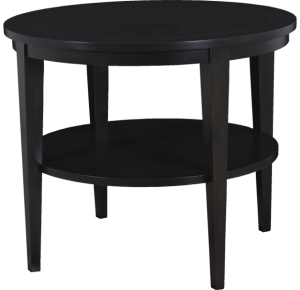 Lorts Custom Sized 3675 Round Tapered Leg Lamp Table finished in Espresso measuring W36 x D36 x H30