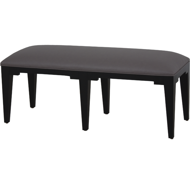 Lorts Custom Sized 3605 Bench measuring W48 x D 18 x H20 finished in Onyx and upholstered in COL with Single Welting
